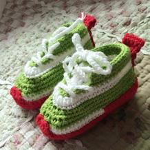 双层鞋底钩针宝宝耐克运动鞋编织教程