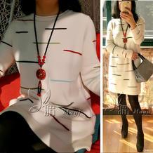 女士机织云绒叁柒彩条卷边领长袖连衣裙 银笛SK280机织作品
