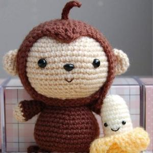 钩针猴子和香蕉文字图解教程