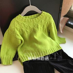 绿芽简单美儿童棒针塌肩袖毛衣