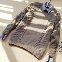 男士棒针竖纹圆领羊绒衫