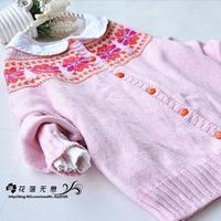 可以织成亲子毛衣的儿童棒针提花开衫