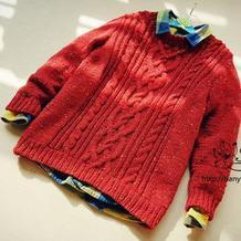 粗针织儿童彩点麻花套头毛衣
