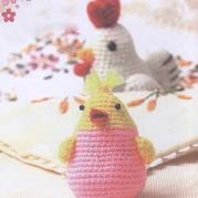 钩针红冠鸡与小鸡仔玩偶图解