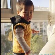 简单长短针结合的宝宝钩针无袖连帽背心