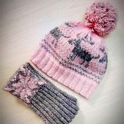 儿童棒针北欧风提花帽子围巾