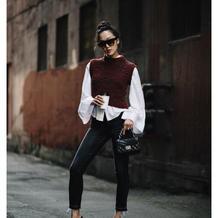 时尚圈的人都在穿背心毛衣!难道你还没有嘛?