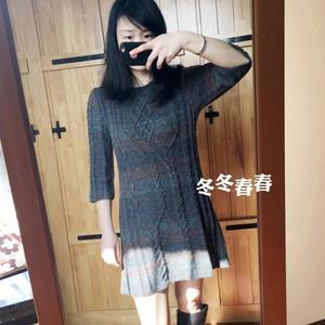 时尚棒针绞花女士七分袖连衣裙