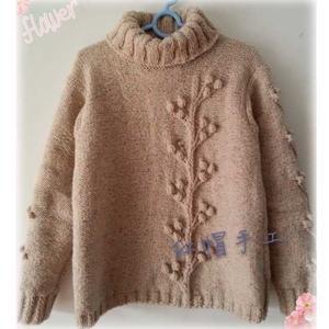 云点粗针织女士棒针高领外套毛衣