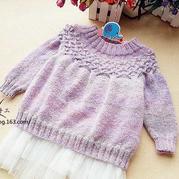 从上往下织可爱女童棒针圆肩套头毛衣