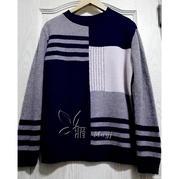 家用编织机机织男士几何图案三色毛衣 银笛SK280作品