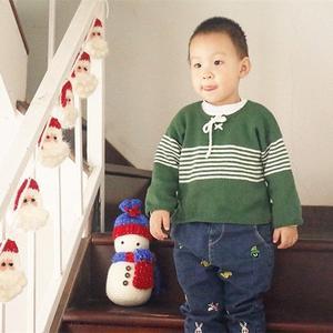 男童棒针条纹半开领毛衣