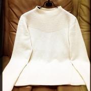 云绒女士棒针小圆领羊绒衫