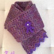 纯色段染交替编织棒针水波纹围巾