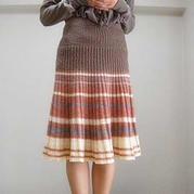 简单易织棒针葡萄牙百褶裙