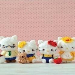 相亲相爱一家人 钩针kitty家庭系列玩偶图解