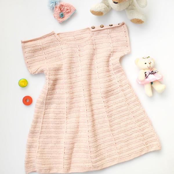 金羊鉤針春秋寶寶連衣裙編織視頻教程(2-1)