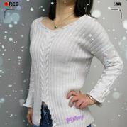 看图仿衣女士棒针麻花V领羊毛衫