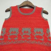 家用编织机机织儿童提花羊绒背心 银笛SK280作品