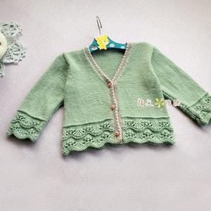 丝羊毛宝宝棒针开衫小毛衣