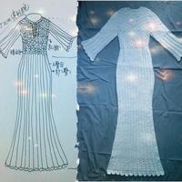 原创设计女士鱼尾喇叭袖纯白长款钩针连衣裙