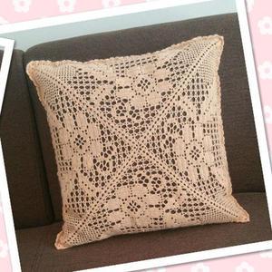 简单漂亮钩针蕾丝方形抱枕