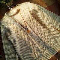 宽松慵懒女士棒针双层领套头毛衣
