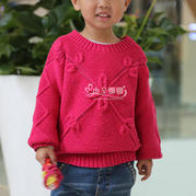 经典棒针树叶花儿童毛衣编织视频(3-3)