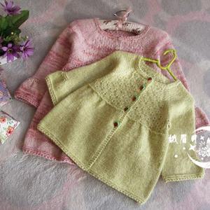 从上往下织儿童棒针雏菊花样开衫裙衣