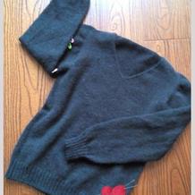 从上往下织自带肩男士棒针V领毛衣