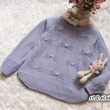 女童棒针蝴蝶结图案圆摆套头毛衣