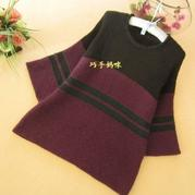 时尚流行喇叭袖女士棒针拼色外套毛衣