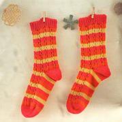 亮丽条纹棒针袜子编织教程