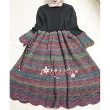 如画民族风女士棒针连衣裙