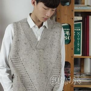 彩点羊毛粗针织男女同款棒针V领背心