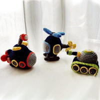 钩针飞机坦克潜水艇三件套 毛线编织男孩玩具
