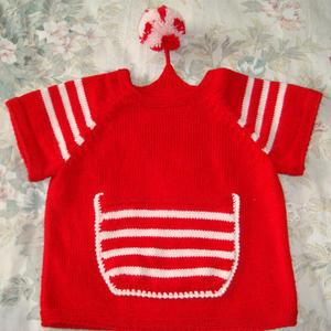 红色精灵 条纹绒球儿童棒针插肩短袖毛衣