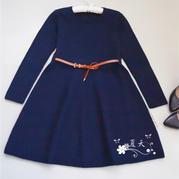 简洁优雅女士棒针修身貂绒连衣裙