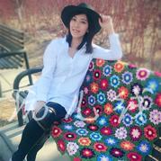 5股牛奶棉钩针编织拼花毯