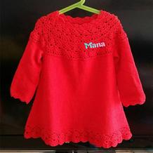 云棉2中国红钩织结合儿童连衣裙