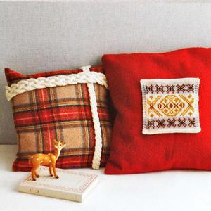 零线编织棒针花样打造时尚简洁抱枕