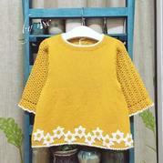 儿童钩织结合裙式毛衣