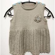 快乐编织机钩针相结合编织宝宝肩开扣背心裙