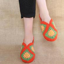 毛线编织女士钩针拼花地板袜编织视频