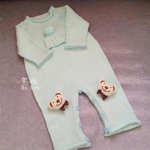 萌可爱棒针宝宝连体衣 长袖开裆爬服详细图解编织说明
