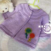 甜美从下往上织棒针宝宝圆肩开衫