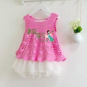 适合2-3岁宝宝的云棉钩针粉色背心裙编织教程