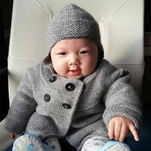 仿法国克林phildar37可爱棒针宝宝开衫与护耳帽