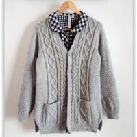 三月女士温暖棒针外套开衫毛衣