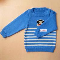 背心长袖两织的儿童棒针条纹毛衣编织视频教程(3-1)条纹背心的织法